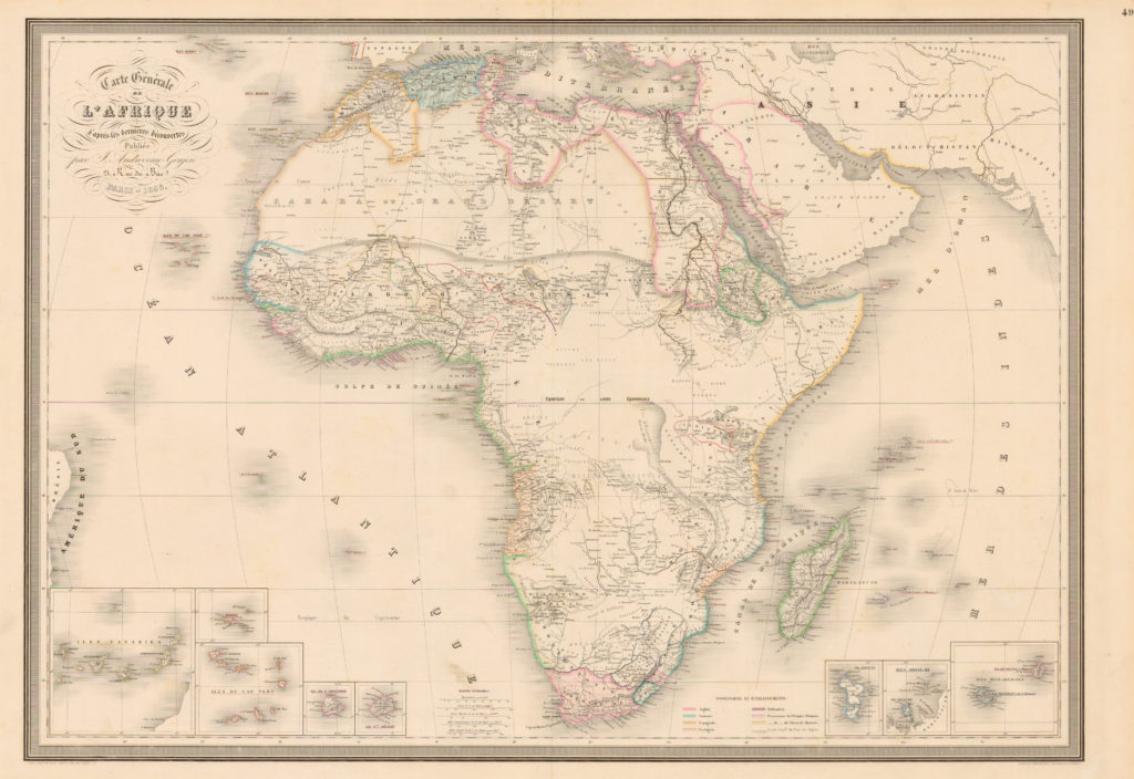 1856 Map With Dahomey On The West Coast of Africa