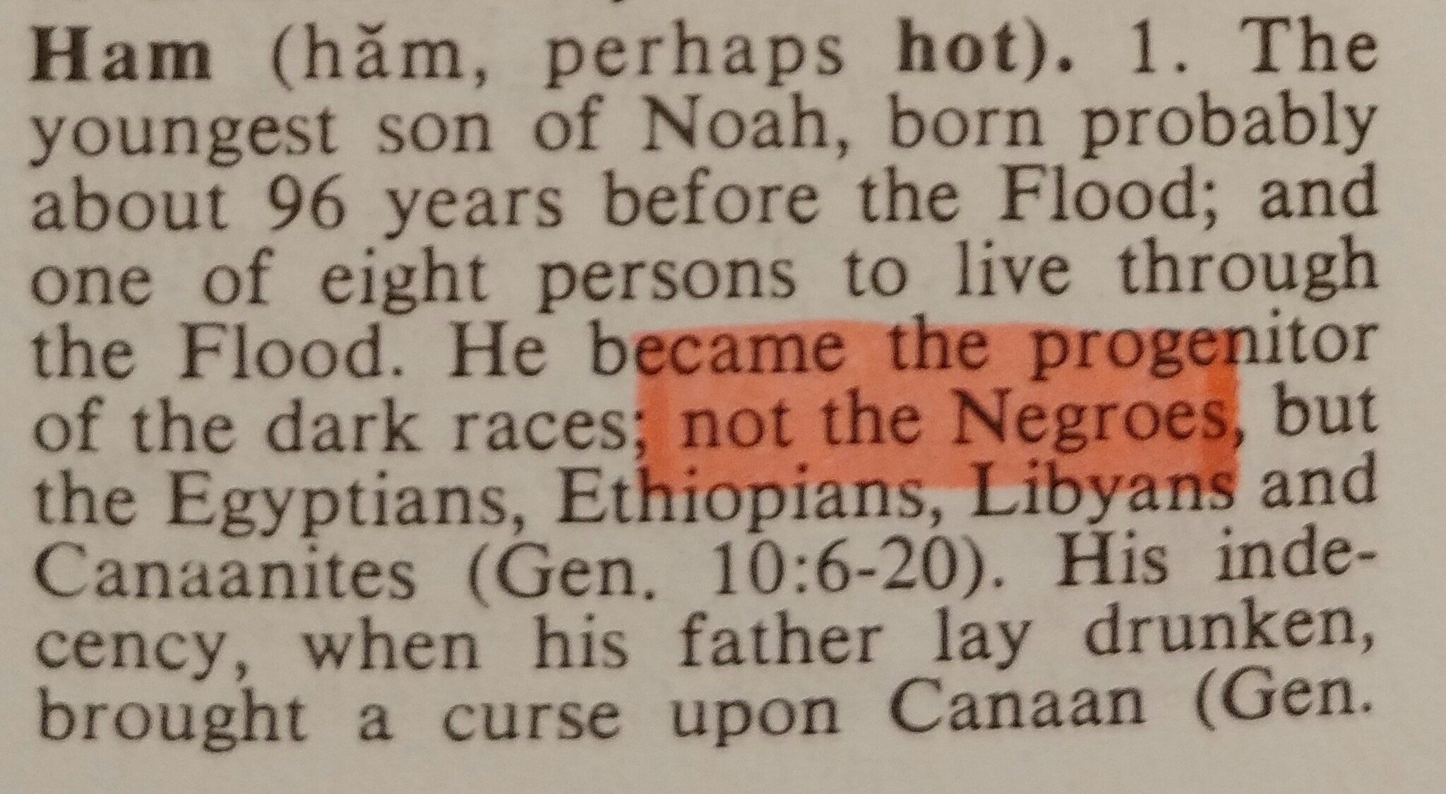 Zondervan Bible Dictionary: Negroes Are Not From The Line of